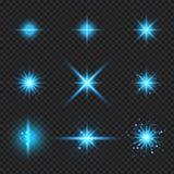 Uppsättningen av glödande blåa ljusa brustna strålar för beståndsdelar, stjärnabristningar med mousserar isolerat på genomskinlig vektor illustrationer