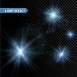 Uppsättningen av glödande stjärnor för ljus effekt brister med royaltyfri illustrationer