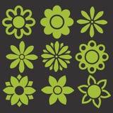 Uppsättningen av gräsplan isolerade blommasymboler royaltyfri illustrationer