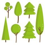 Uppsättningen av gräsplanlägenhetträd och sörjer vektorskogen Arkivfoto