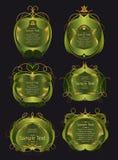Uppsättningen av grönt och guld- inramar Fotografering för Bildbyråer