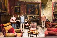 Uppsättningen av Gryffindor gemensamt rum, LEAVESDEN, UK Royaltyfri Foto