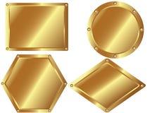 Uppsättningen av guld- belägger med metall pläterar 2 Arkivfoton