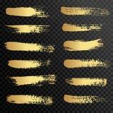 Uppsättningen av guld- målarfärg, färgpulverborsteslaglängder, borstar, fodrar Arkivbilder