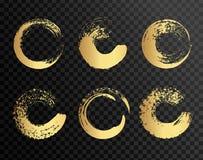 Uppsättningen av guld- målarfärg, färgpulverborsteslaglängder, borstar, fodrar Smutsiga konstnärliga designbeståndsdelar, askar,  Royaltyfria Foton