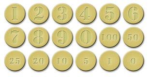 Uppsättningen av guld- myntar Royaltyfria Foton