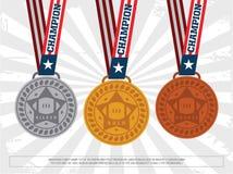 Uppsättningen av guld, silver och brons tilldelar medaljer Modern yrkesmässig vektor royaltyfri illustrationer