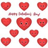 Uppsättningen av gullig röd hjärta ler i tecknad filmstil vektor illustrationer