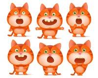 Uppsättningen av gulliga orange katttecknad filmtecken i olikt poserar stock illustrationer