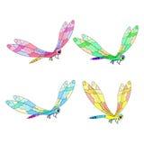 Uppsättningen av gulligt en slända flyger också vektor för coreldrawillustration Royaltyfria Foton