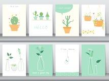 Uppsättningen av gulligt växer växter affischen, mallen, hälsningkort, vektorillustrationer Fotografering för Bildbyråer