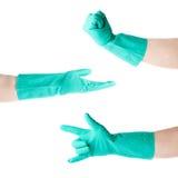 Uppsättningen av händer i den rubber latexhandsken över vit isolerade bakgrund Royaltyfri Fotografi