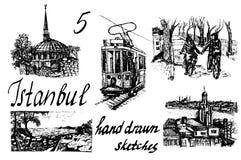 Uppsättningen av 5 hand-dragit färgpulver skissar illustrationer Istanbul Arkivbild