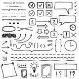 Uppsättningen av handteckningsbeståndsdelar för redigerar och väljer royaltyfri illustrationer