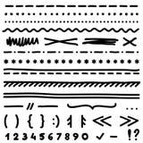 Uppsättningen av handteckningsbeståndsdelar för redigerar och väljer text royaltyfria bilder