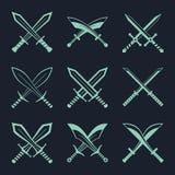 Uppsättningen av heraldiska svärd och sablar för heraldik planlägger vektorn stock illustrationer