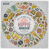 Uppsättningen av hippietecknad filmklottret anmärker, symboler och objekt
