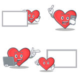 Uppsättningen av hjärtateckenet med brädetelefonbärbara datorn poserar stock illustrationer