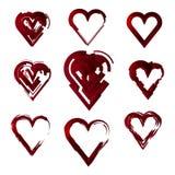 Uppsättningen av hjärtor, förälskelse, abstrakt begrepp, stiliserade Arkivbild