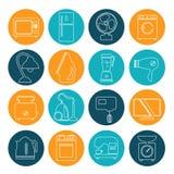 Uppsättningen av hushållanordningar drar upp konturerna av symboler på färgrik rund rengöringsduk Arkivbilder