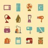 Uppsättningen av hushållanordningar sänker symboler med en st för tvagningmaskin Arkivbild