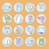 Uppsättningen av hushållanordningar sänker symboler på färgrik rund rengöringsduk men Royaltyfri Bild
