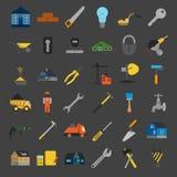 Uppsättningen av husreparationen bearbetar symboler Arkivbild
