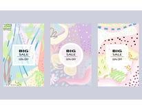 Uppsättningen av idérika sociala massmediaSale titelrader eller baner med rabatt erbjuder Design för säsongsbetonad rensning Det  royaltyfri illustrationer
