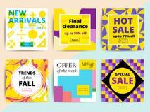 Uppsättningen av idérikt socialt massmedia som baner planlägger för direktanslutet, shoppar stock illustrationer