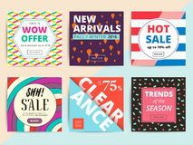 Uppsättningen av idérikt socialt massmedia som baner planlägger för direktanslutet, shoppar eller s royaltyfri illustrationer