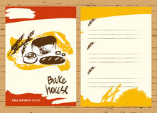 Uppsättningen av illustrationen av bröd och rulle för meny bakar shoppar vektor illustrationer