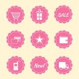 Uppsättningen av internet shoppar symboler royaltyfri bild