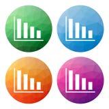 Uppsättningen av 4 isolerade moderna låga polygonal knappar - symboler - för Co Royaltyfri Foto