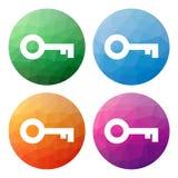 Uppsättningen av 4 isolerade moderna låga polygonal knappar - symboler - för ke Arkivbild