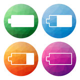 Uppsättningen av 4 isolerade moderna låga polygonal knappar - symboler - för lodisar Royaltyfri Fotografi