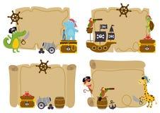 Uppsättningen av isolerade skattöversikter med djuret piratkopierar vektor illustrationer