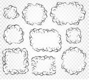 Uppsättningen av isolerat tecknad filmanförande bubblar, ramar av rök, eller ånga, komiker för dialog molnet, vektorillustration  vektor illustrationer