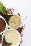 Uppsättningen av jasminrissamlingen har kolhydrater, vitaminet och mineral den goda för hälsa på vit bakgrund Arkivfoto