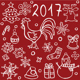 uppsättningen av jul och det nya året klottrar symboler Arkivfoto