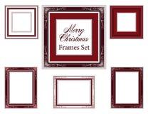 Uppsättningen av julramar, vektorjul gränsar Arkivfoton