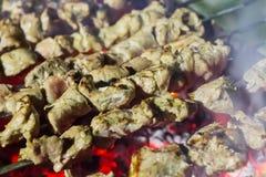 Uppsättningen av köttgrillfestgriskött som grillades som kryddades med kryddiga kryddor som förbereder sig över brand, dolde kuli fotografering för bildbyråer