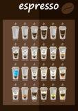 Uppsättningen av kaffe skriver menyn Fotografering för Bildbyråer