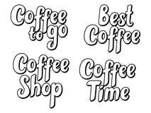Uppsättningen av kaffehanden skissade bokstäveraffischen, borstekalligrafi För logotyp emblem, symbol, kort, vykort, logo, baner, Arkivfoto