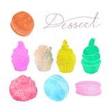 Uppsättningen av kakor gjorde den genomskinliga vattenfärgkonturn av för gräsplan, gula och röda färger för rosa färger, för blåt Royaltyfri Bild