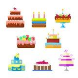 Uppsättningen av kakor med frukt och stearinljus till födelsedagen eller annan semestrar Vektor isolerad illustration i plan stil vektor illustrationer