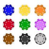 Uppsättningen av kasinot gå i flisor på en vit bakgrund chips poker realistisk illustration för vektor Royaltyfri Foto