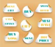 Uppsättningen av klistermärkear med textsista chansen, köper nu, Royaltyfri Foto