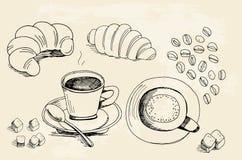 Uppsättningen av klotter, det hand drog grova enkla kaffetemat skissar, v Arkivbilder