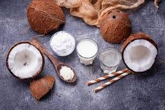 Uppsättningen av kokosnöten mjölkar, bevattnar, olja och shavings royaltyfria foton