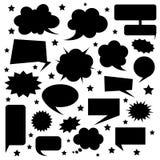 Uppsättningen av komiker bubblar konturn Talande och tänkande eleme vektor illustrationer